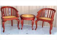 Комплект маса и стол от ратан и махагон
